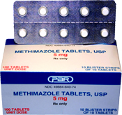 Figure 1. Generic and brand name (Tapazole®) varieties of methimazole. Both varieties typically come as 5 and 10 mg. tablets.